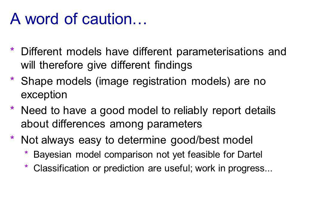 A word of caution… Different models have different parameterisations and will therefore give different findings.