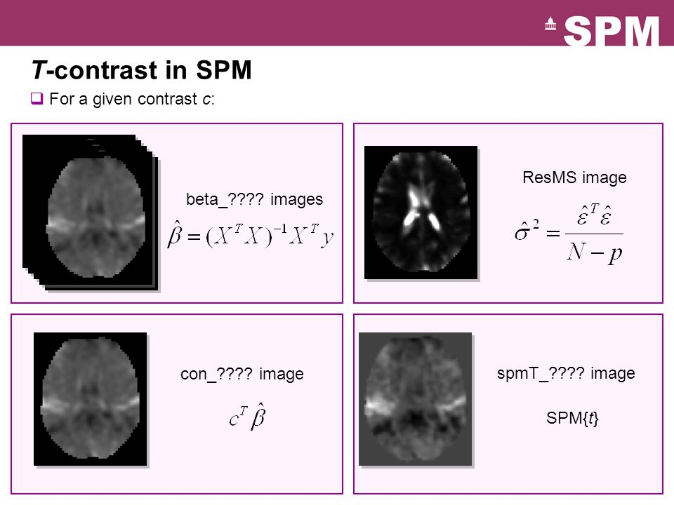 T-contrast in SPM For a given contrast c: ResMS image beta_ images