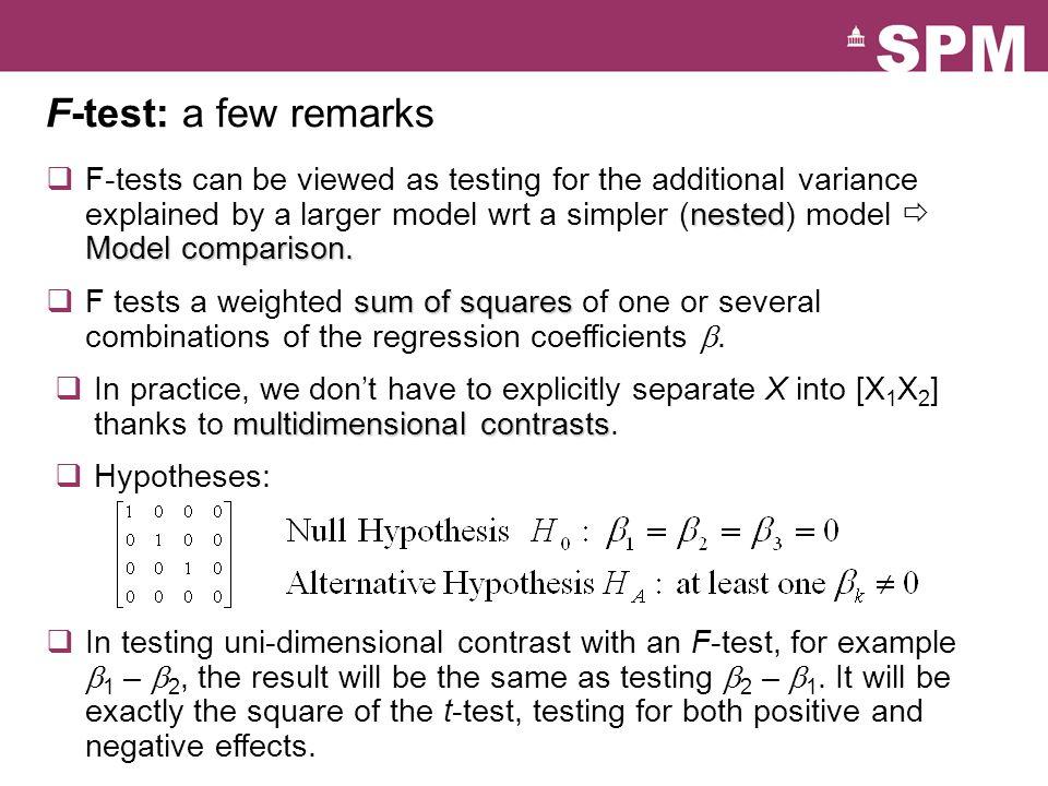 F-test: a few remarks