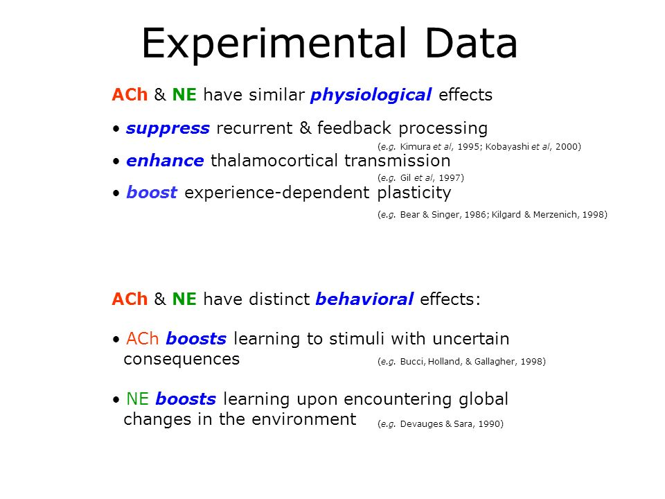 Experimental Data ACh & NE have similar physiological effects