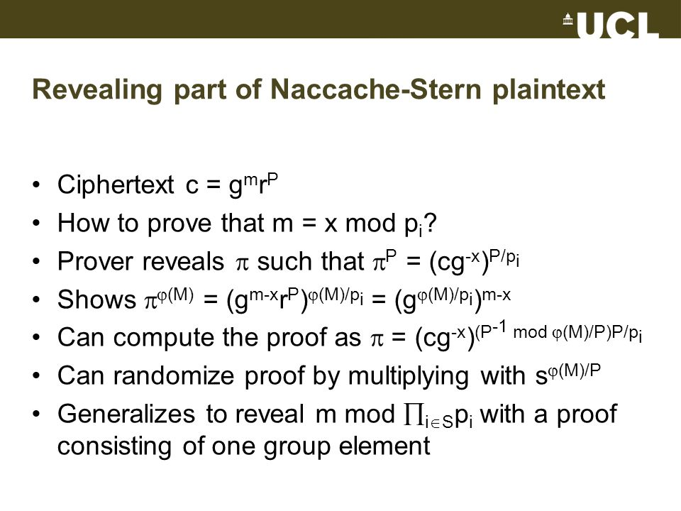 Revealing part of Naccache-Stern plaintext