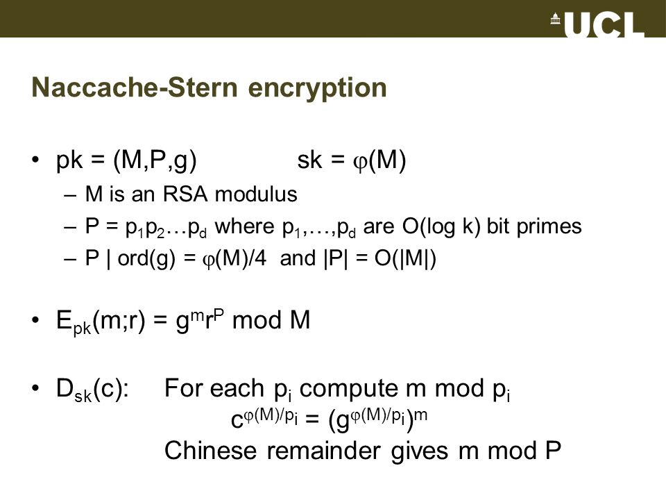 Naccache-Stern encryption