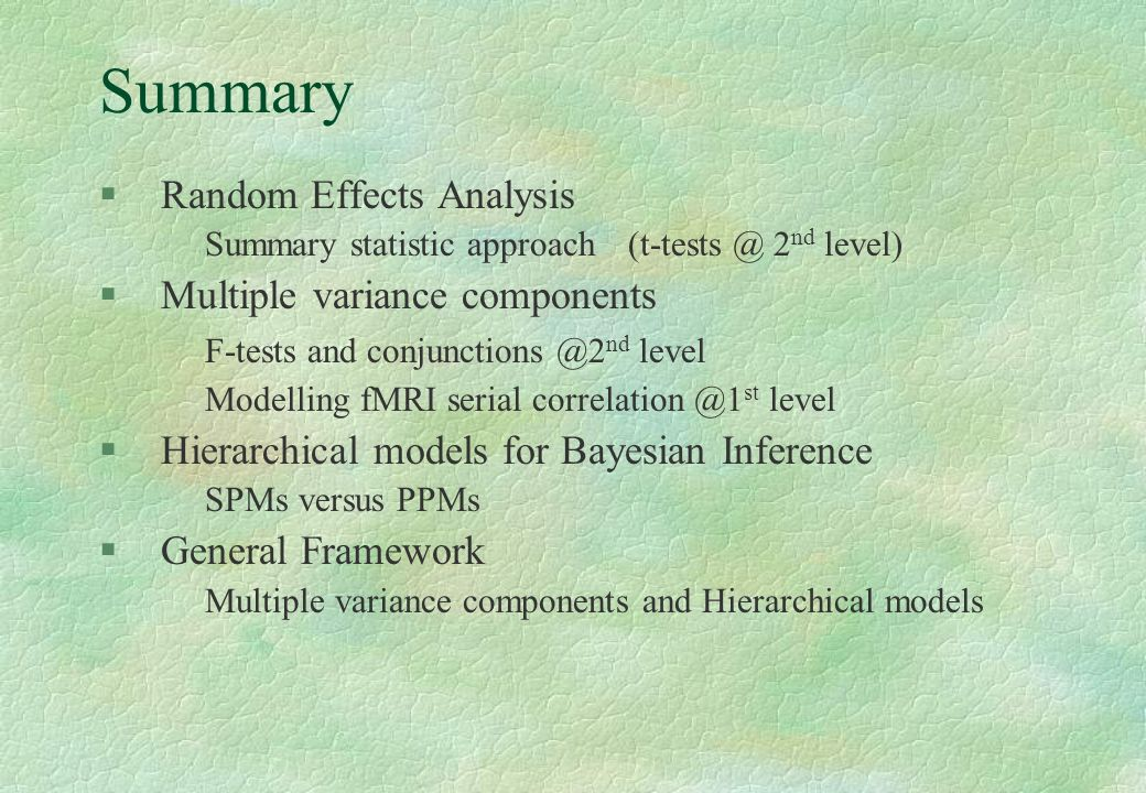 Summary Random Effects Analysis Multiple variance components