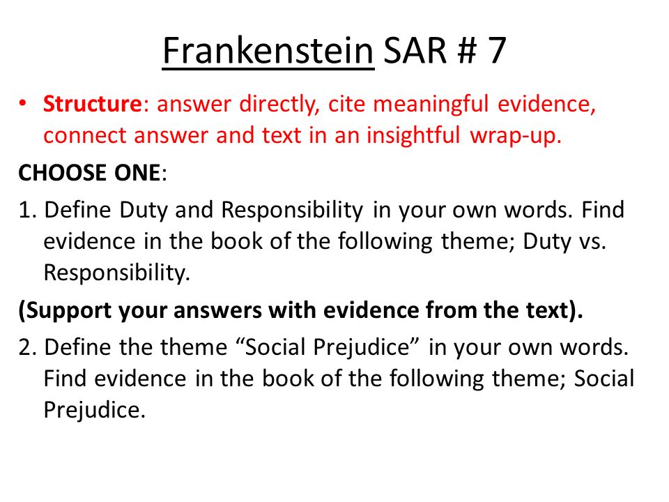frankenstein essay questions and answers Frankenstein packet part 1 for a copy of the packet of frankenstein fig questions here's a quote from the essay.