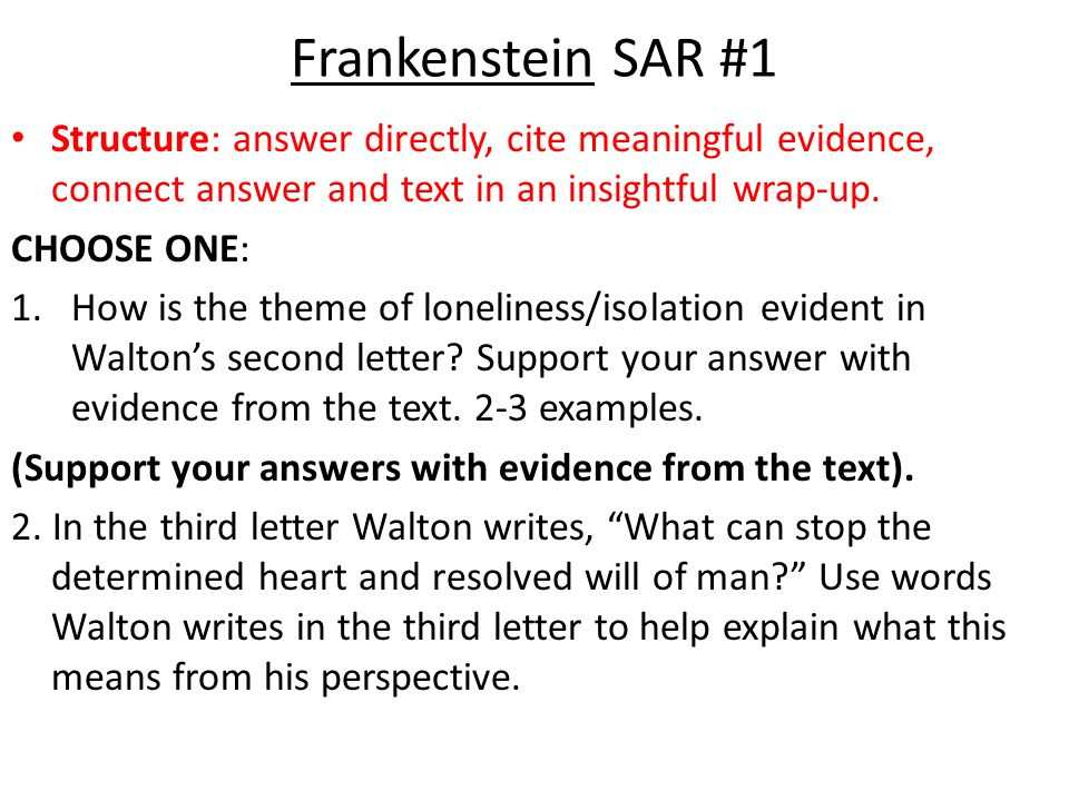 frankenstein s a r s short answer responses ppt  2 frankenstein