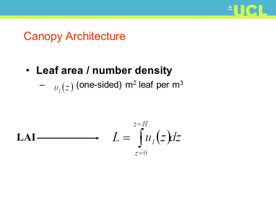 Canopy Architecture Leaf area / number density LAI