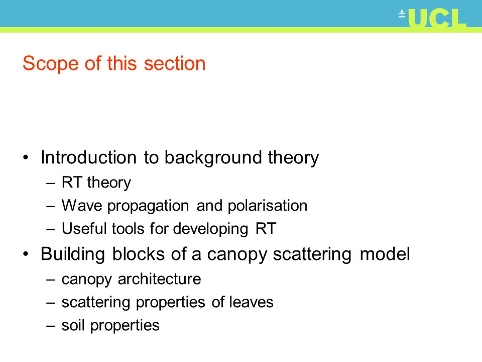 Scope of this section Introduction to background theory