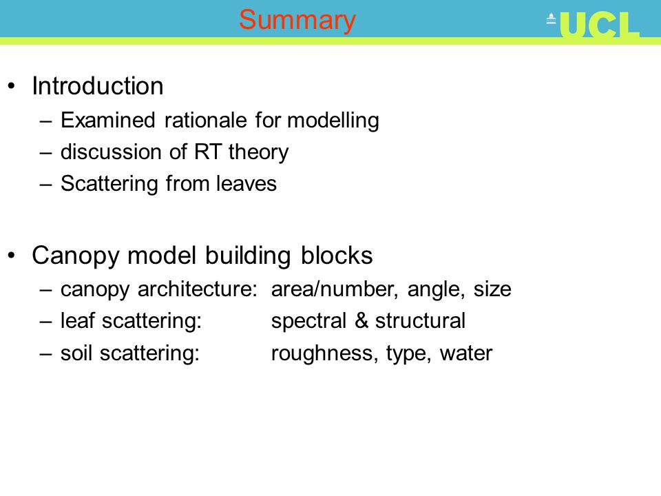 Summary Introduction Canopy model building blocks