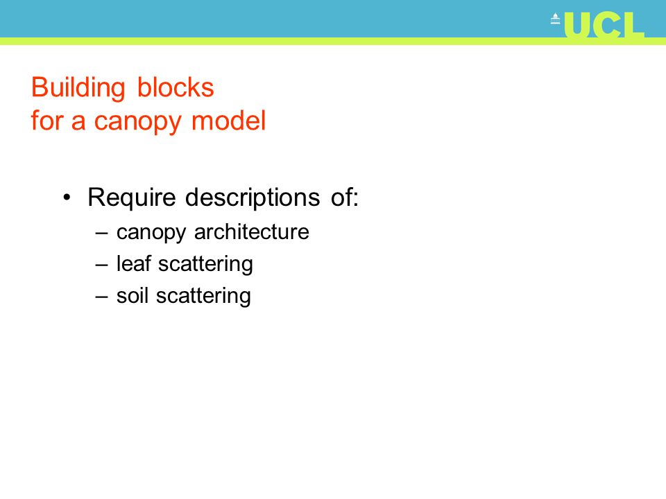 Building blocks for a canopy model