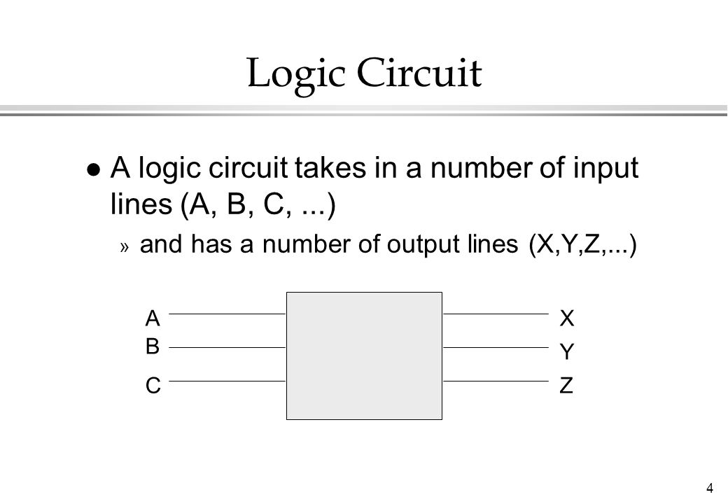 Logic Circuit A logic circuit takes in a number of input lines (A, B, C, ...) and has a number of output lines (X,Y,Z,...)