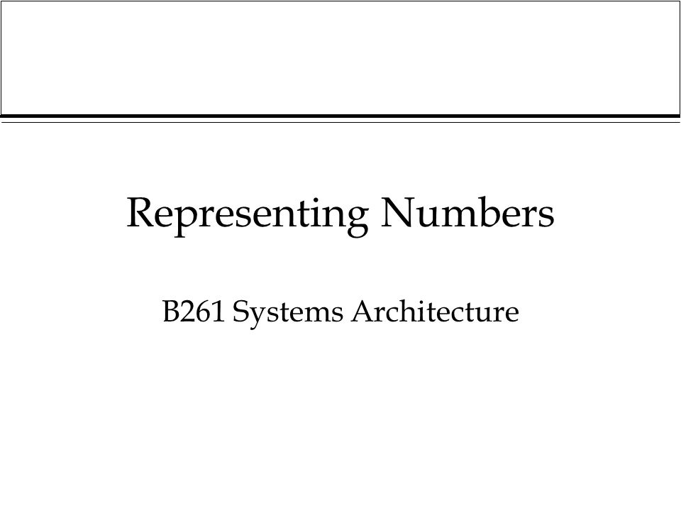 B261 Systems Architecture