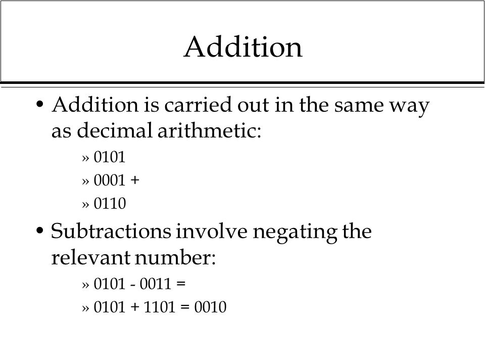 Addition Addition is carried out in the same way as decimal arithmetic: 0101. 0001 + 0110. Subtractions involve negating the relevant number: