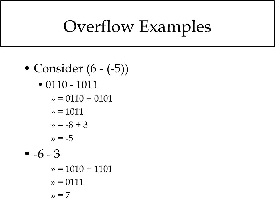 Overflow Examples Consider (6 - (-5)) -6 - 3 0110 - 1011 = 0110 + 0101