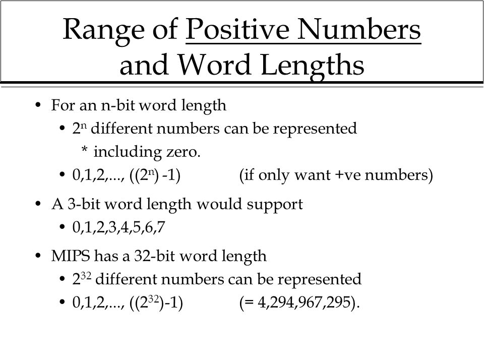 Range of Positive Numbers and Word Lengths