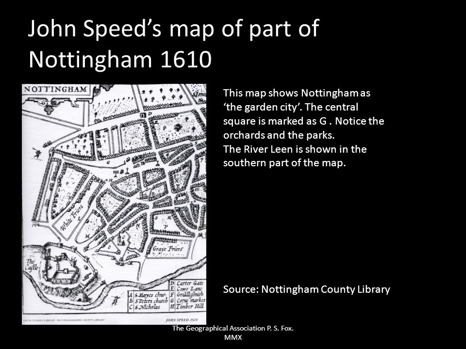 John Speed's map of part of Nottingham 1610