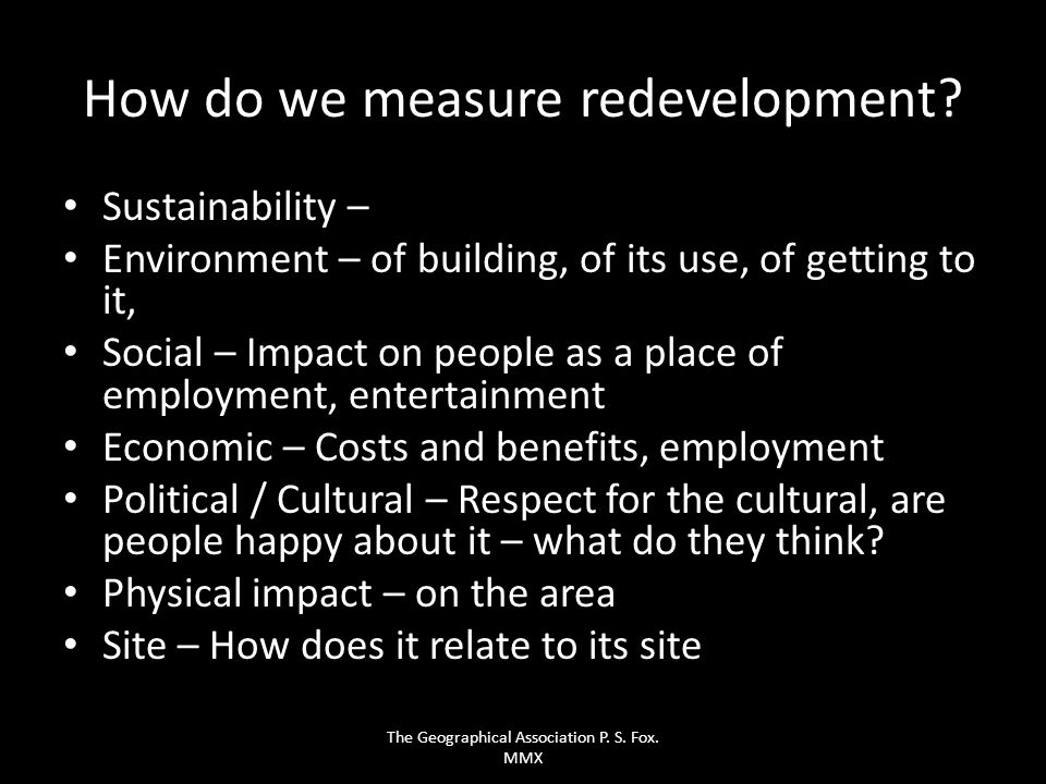 How do we measure redevelopment