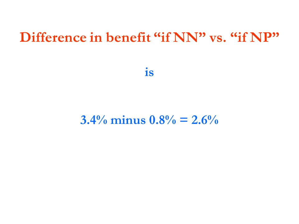 Difference in benefit if NN vs. if NP