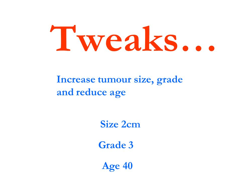 Tweaks… Increase tumour size, grade and reduce age Size 2cm Grade 3