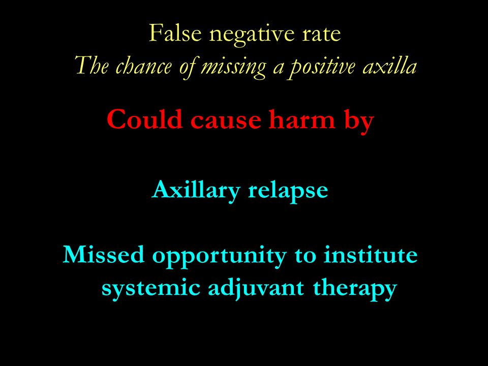 False negative rate The chance of missing a positive axilla