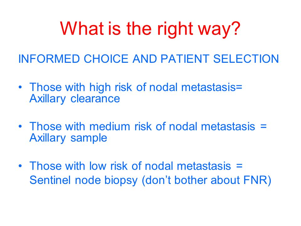 What is the right way INFORMED CHOICE AND PATIENT SELECTION