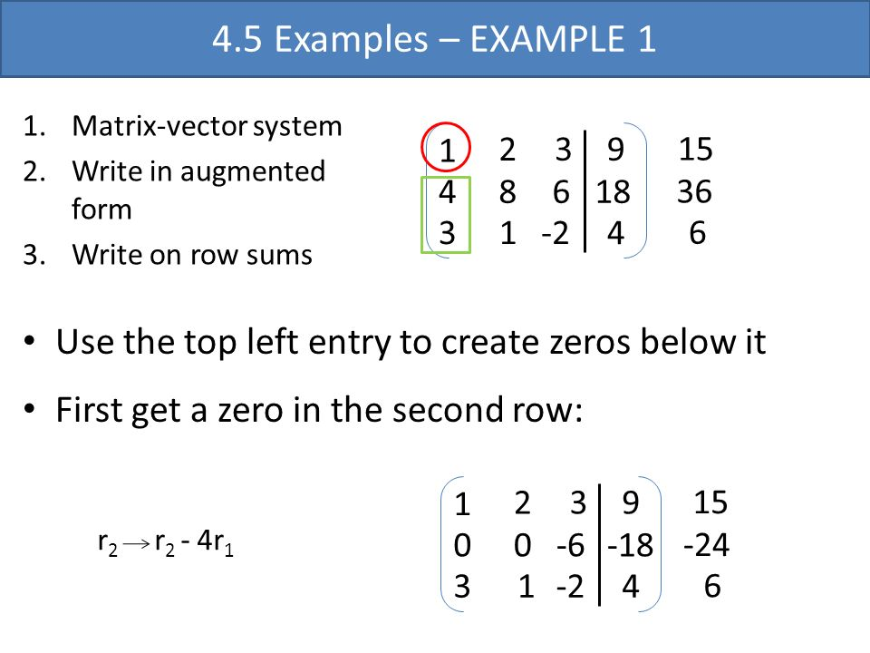 4.5 Examples – EXAMPLE 1 Matrix-vector system. Write in augmented form. Write on row sums