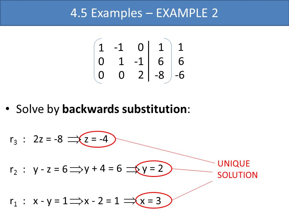 4.5 Examples – EXAMPLE 2 Solve by backwards substitution: 2 1 -1 6 -8