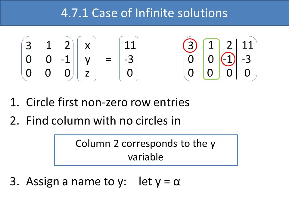 4.7.1 Case of Infinite solutions