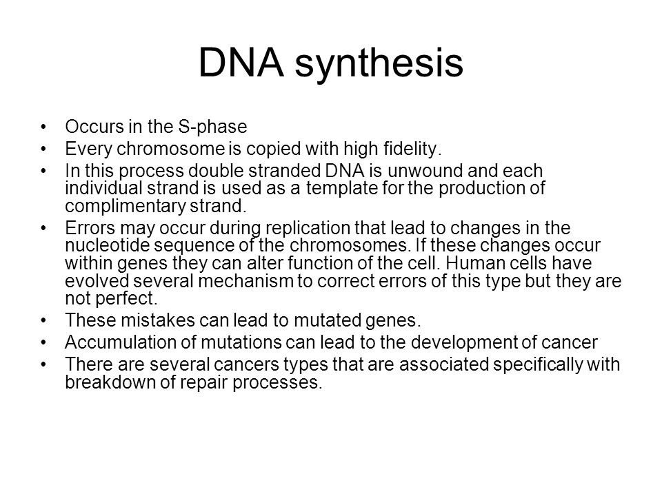 DNA synthesis Occurs in the S-phase