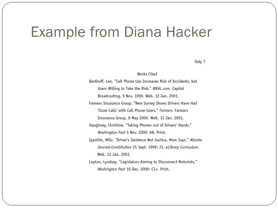 dianah hacker research papers Mla research paper (daly) angela daly diana hacker (boston:bedford/st this paper has been updated to follow the style guidelines in the mla handbook for.