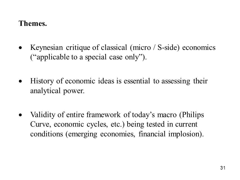 Themes. Keynesian critique of classical (micro / S-side) economics ( applicable to a special case only ).