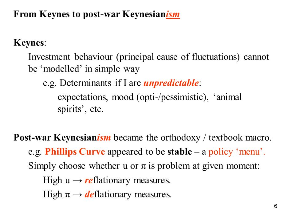 From Keynes to post-war Keynesianism