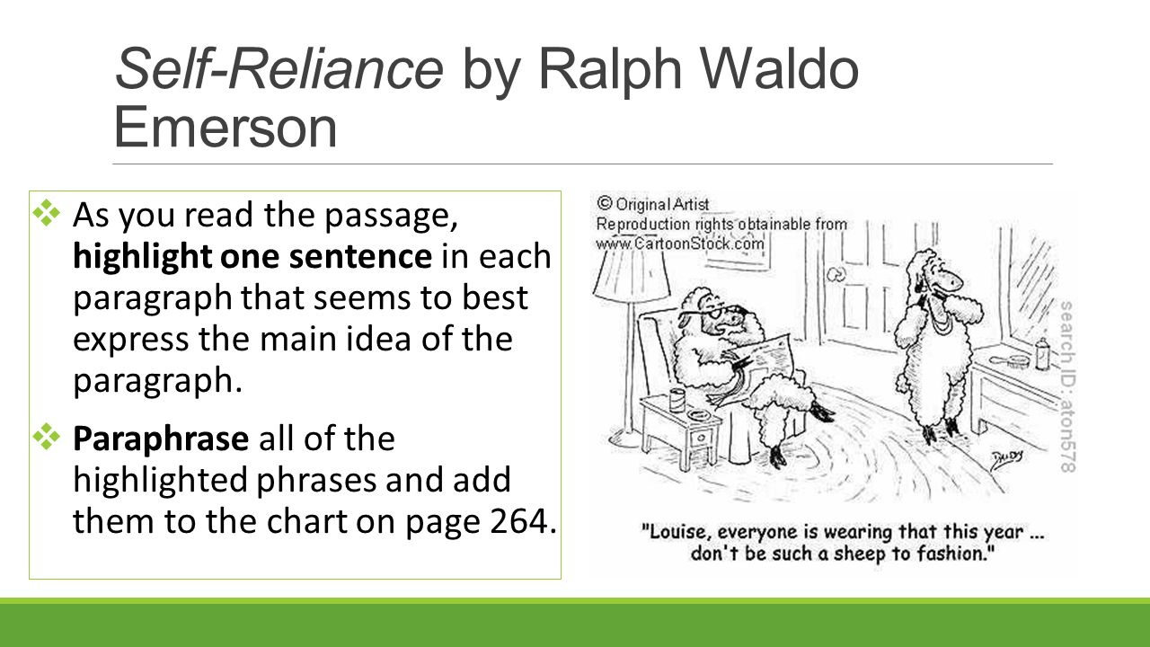 an analysis of themes in self reliance by ralph waldo emerson Ralph waldo emerson's essay self-reliance is a great self-help source, the goal of which is to promote transcendentalism and simultaneously help the reader understand and follow transcendental beliefs - an analysis of ralph waldo emerson`s `self-reliance` essay introduction self-reliance serves for emerson as a way to expresses his beliefs.