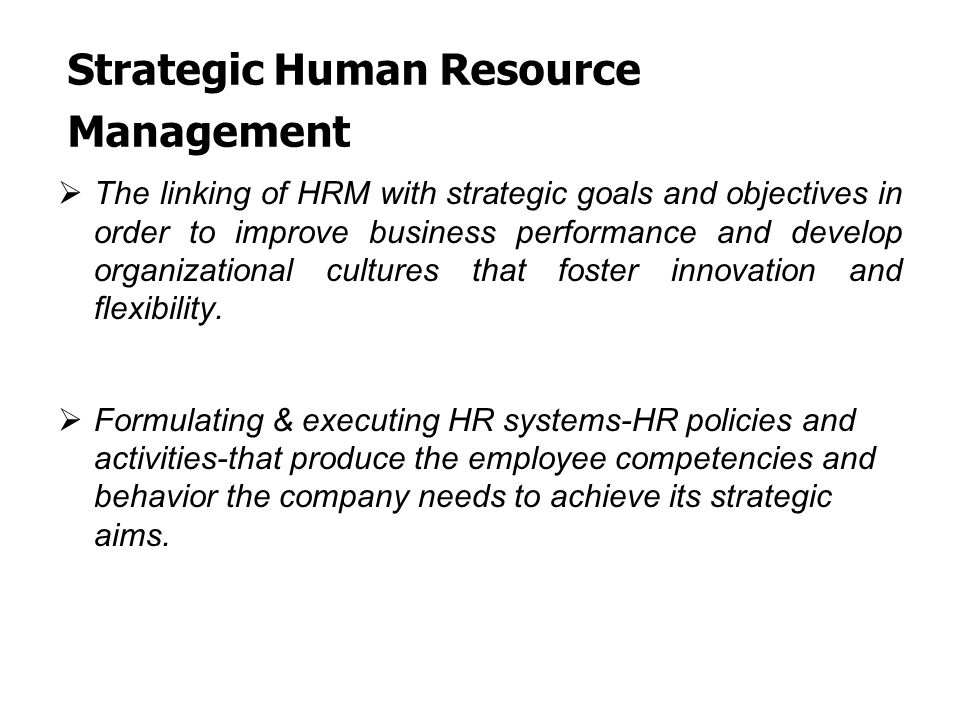 strategic human resource management pdf