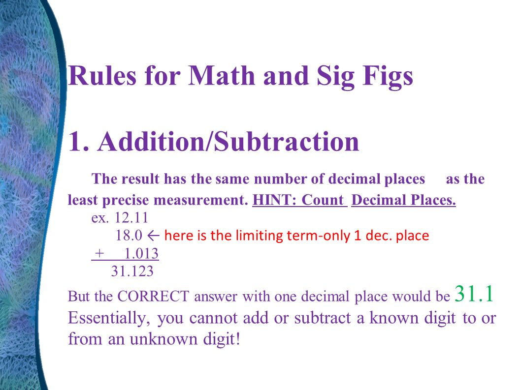 worksheet Sig Fig Rules Addition unit 1 fundamentals of chemistry ppt download rules for math and sig figs additionsubtraction