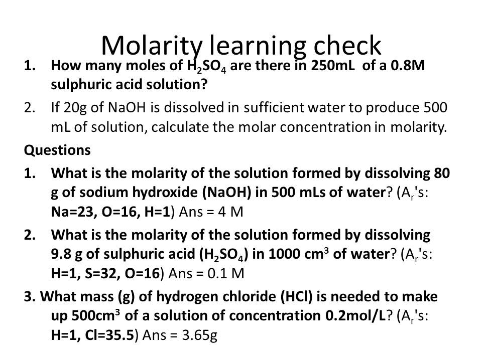 Molarity learning check