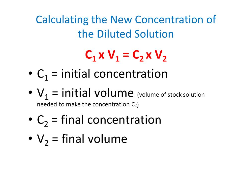 Calculating the New Concentration of the Diluted Solution