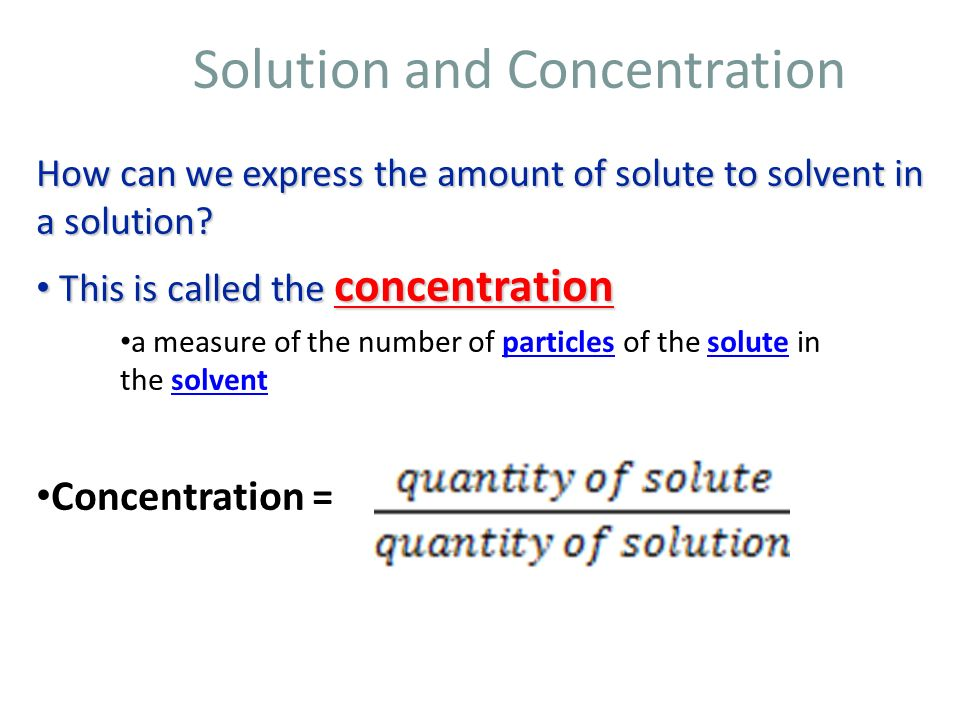 Solution and Concentration