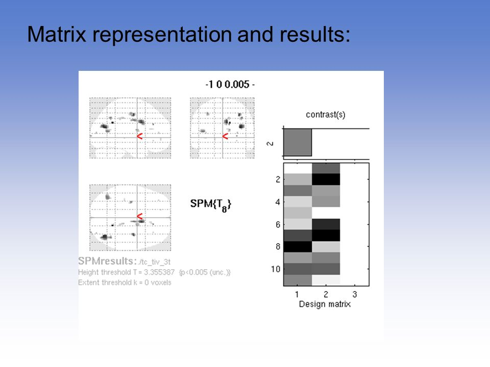 Matrix representation and results: