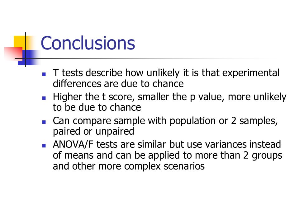 Conclusions T tests describe how unlikely it is that experimental differences are due to chance.