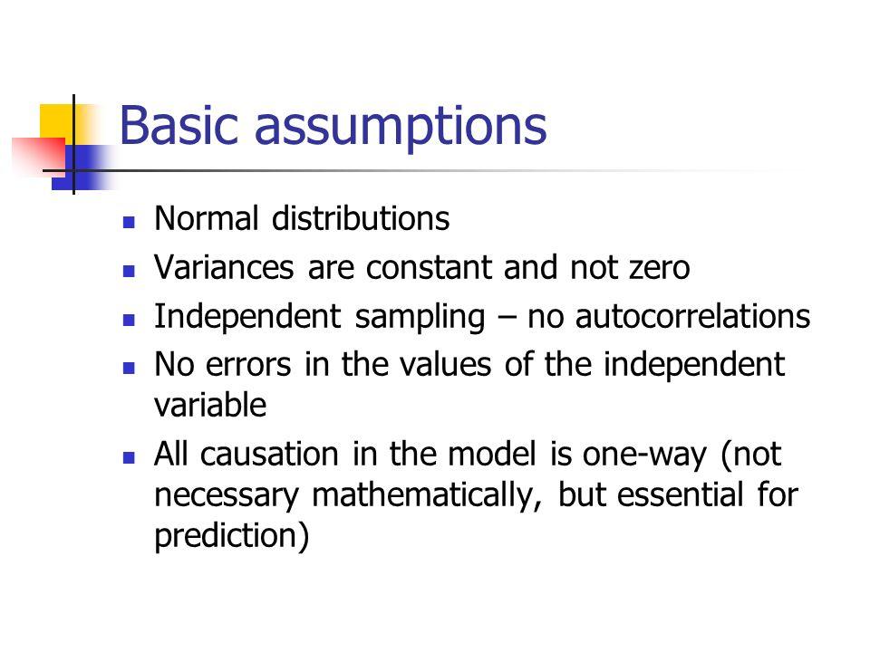Basic assumptions Normal distributions