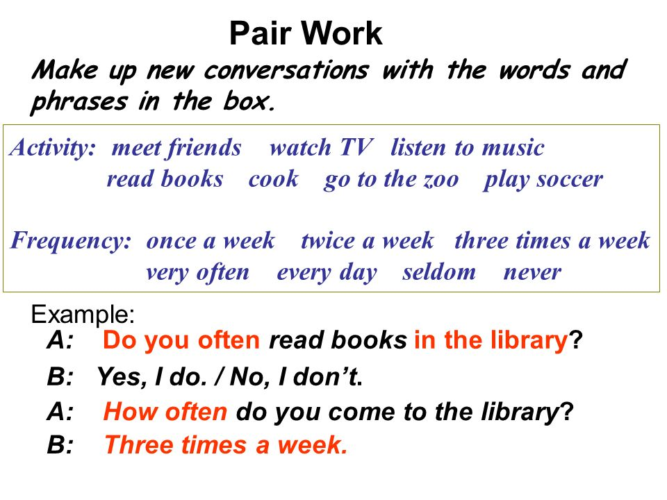 Pair Work Make up new conversations with the words and phrases in the box. Activity: meet friends watch TV listen to music.