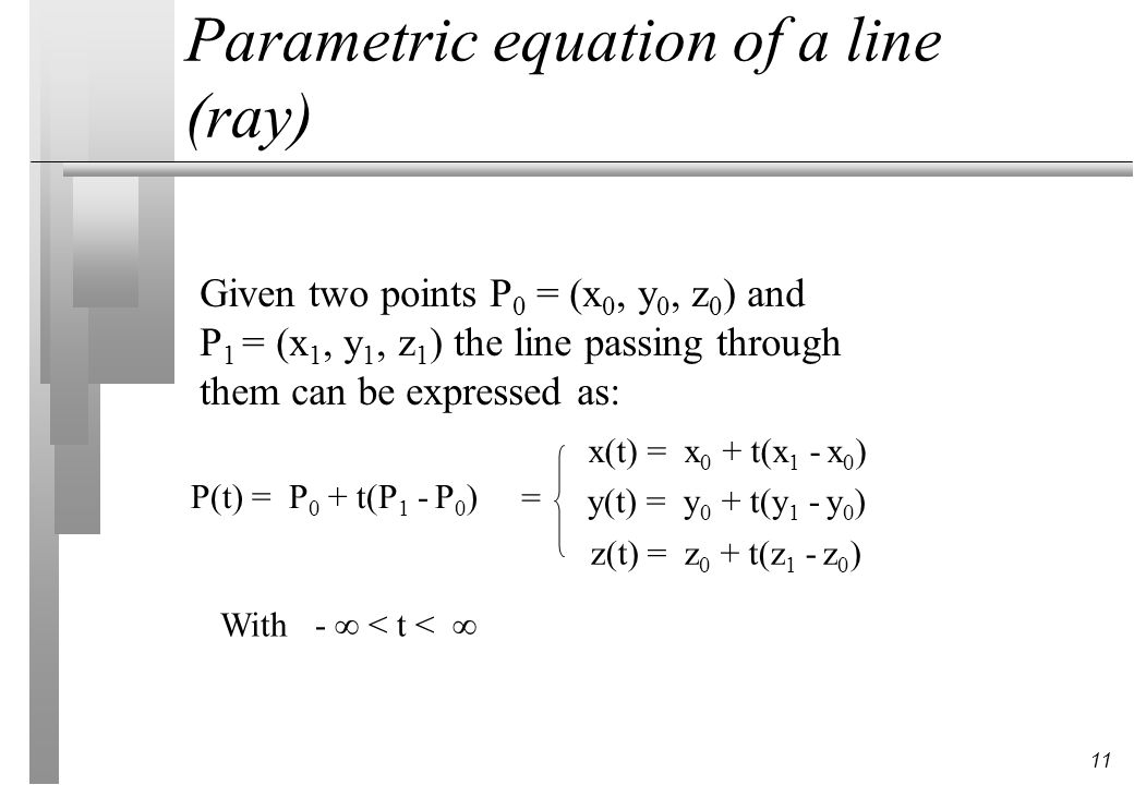 Parametric equation of a line (ray)