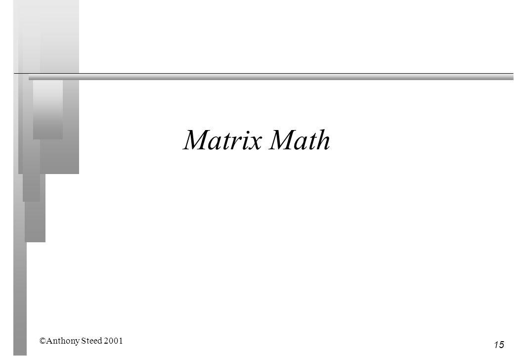 Matrix Math ©Anthony Steed 2001