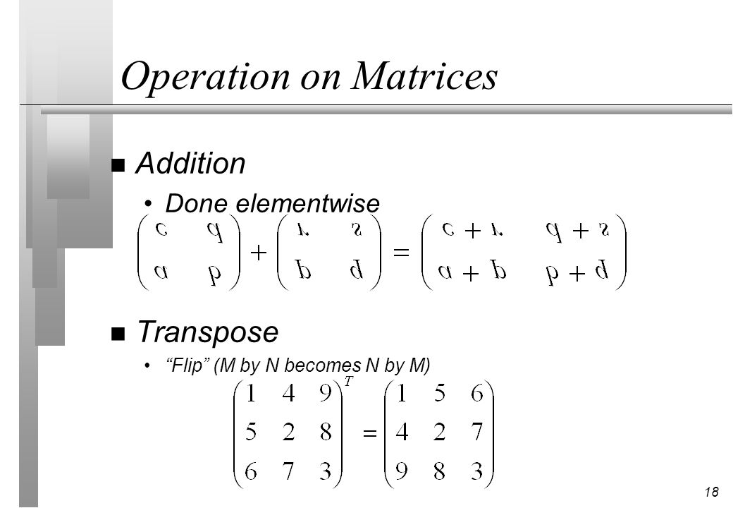 Operation on Matrices Addition Transpose Done elementwise