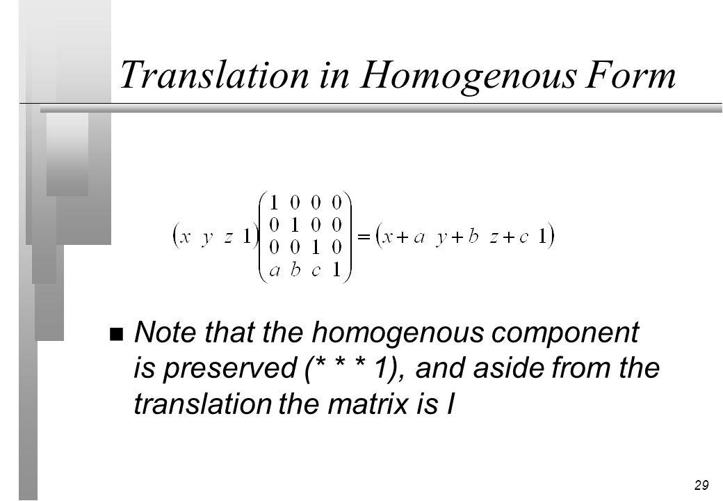 Translation in Homogenous Form