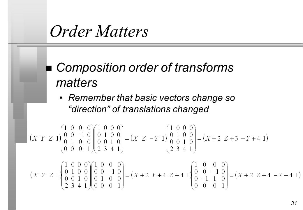 Order Matters Composition order of transforms matters