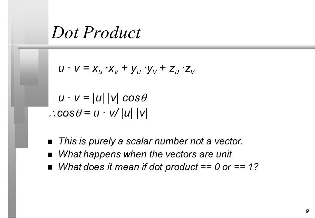 Dot Product u · v = xu ·xv + yu ·yv + zu ·zv u · v = |u| |v| cos
