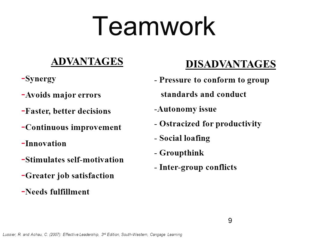 teamwork advantages and disadvantages essay There is a simple, yet powerful, acronym to help one remember the importance of teamwork (team) together everyone achieves more.
