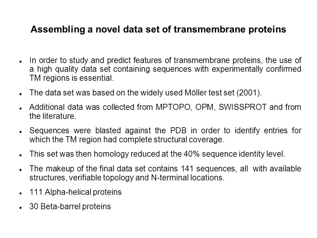 Assembling a novel data set of transmembrane proteins