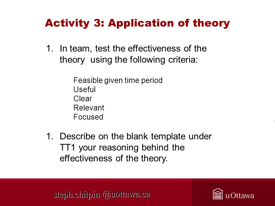 Activity 3: Application of theory